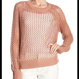 NWT 360 sweater linen blend open knit sweater